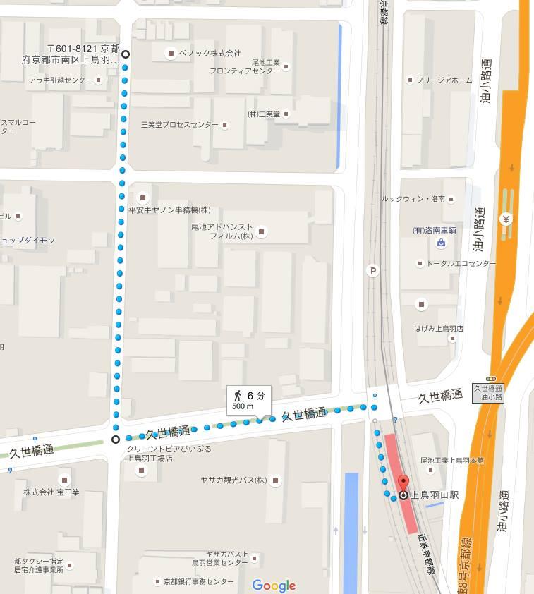 ベノック最寄り駅からの地図